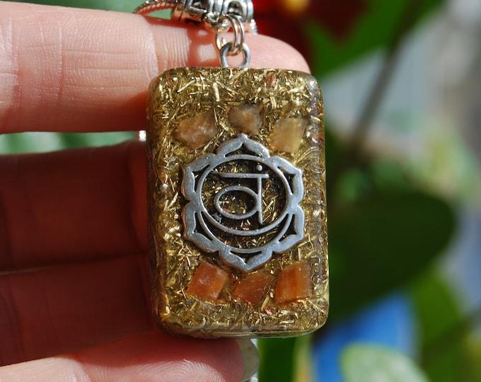Sacral Second Chakra Orgonite® Orgone Pendant Necklace with raw Orange Calcite