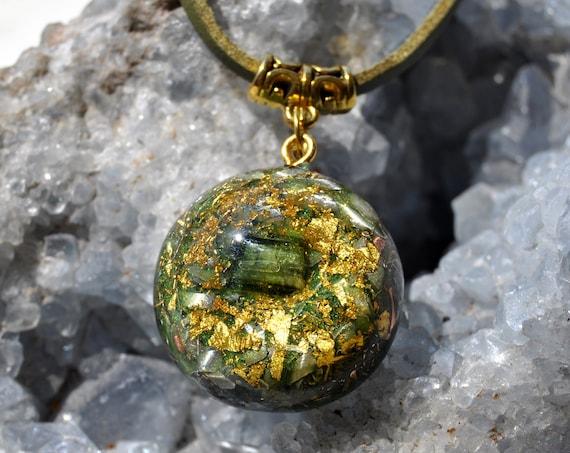 Green Tourmaline Orgonite® Small Pendant with 24K Gold, Heart Chakra Vitality - Free Shipment