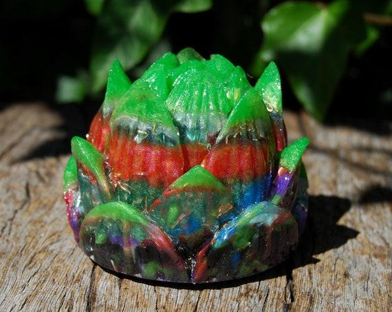 Lotus Orgonite® Orgone Generator® Tower Buster, Multi Color, Homemade Colorful