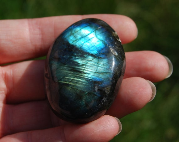 Flash Labradorite stone Madagascar, 56 grams, Polished Palm Stone