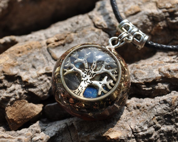 Orgone Orgonite® Pendant Flash Labradorite necklace, EMF Protection Unisex