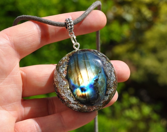 Flash Labradorite Orgonite® Pendant Necklace with 24K Gold, EMF Cleanser Unisex