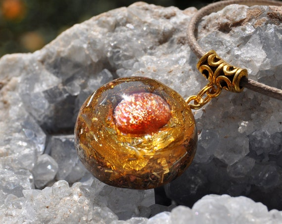 AA Sunstone Orgonite® Orgone Necklace with 24K Gold