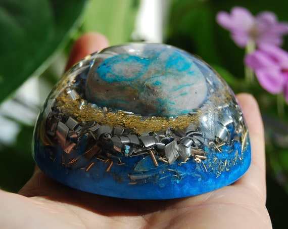 Rare Ajoite LARGE Dome Orgonite®, Orgone Generator® with 24K GOld