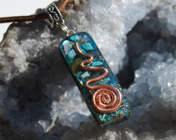 Labradorite and Amazonite Orgonite® Jewelry, Path to Enlightment