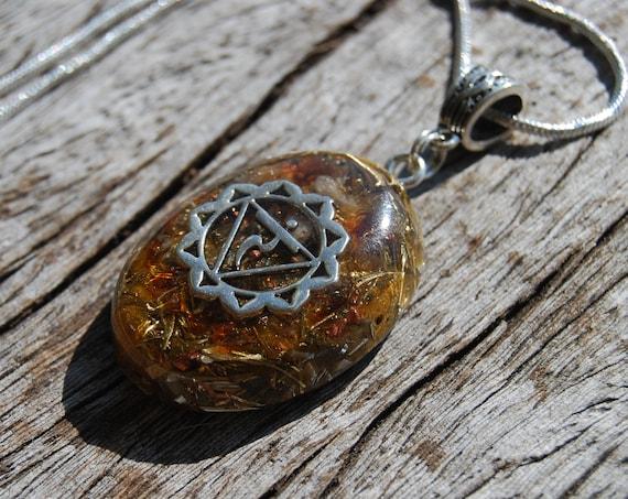 Citrine Orgonite® Orgone Pendant Solar Plexus Third Chakra Necklace