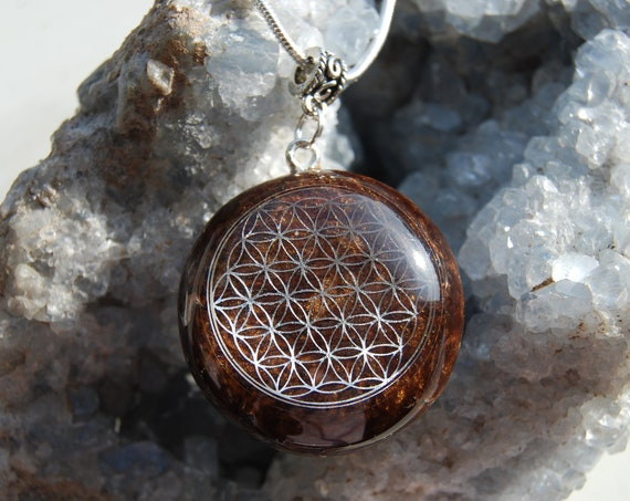 Flower of Life Orgonite®Pendant with Tiger Eye Necklace Unisex