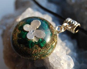 Orgonite® Orgone Pendant with raw Malachite, Rhodizite, Black Tourmaline, Pyrite, Quartz Crystal, Butterfly Necklace Unique FREE Shipping !