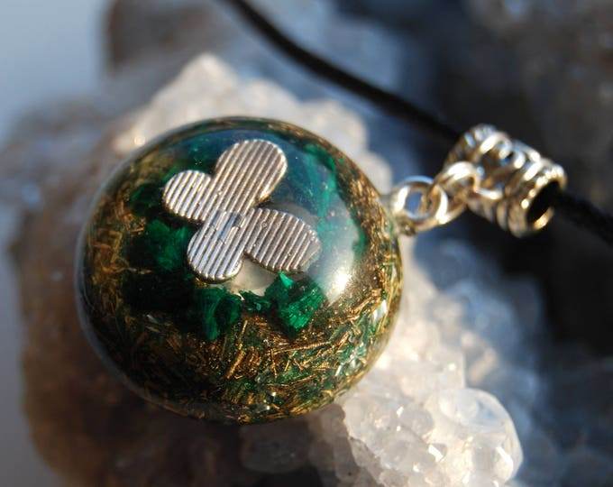 Orgonite® Orgone Pendant with raw Malachite, Rhodizite, Black Tourmaline, Pyrite, Quartz Crystal, Butterfly Necklace Unique FREE Shipping !