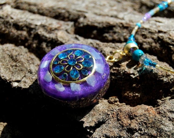 Orgonite® Orgone Pendant with blue Calcite, Throat Chakra healing, EMF Protection, Women's Necklace