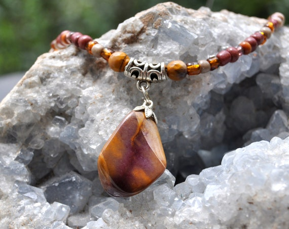 Mookaite Jasper Beaded Necklace  - UNISEX Free Shipping