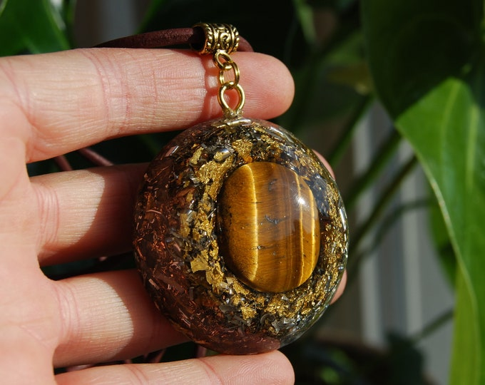 Orgonite® Tiger Eye Pendant with 24K gold LARGE Powerfull Orgone Necklace