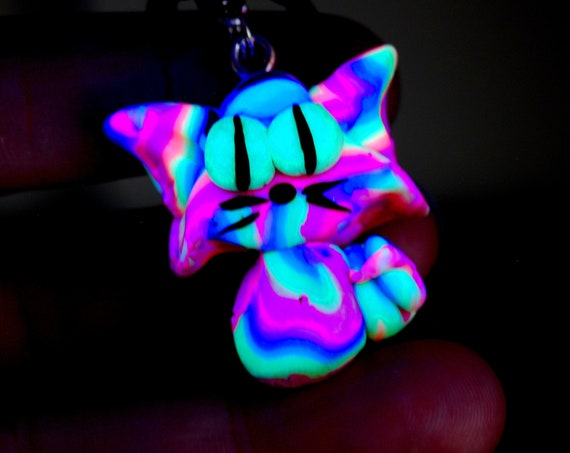 Psychedelic Cat Pendant Necklace, Psytrance Rainbow UV Active with Glow in Dark Accents, Blacklight Fluorescent