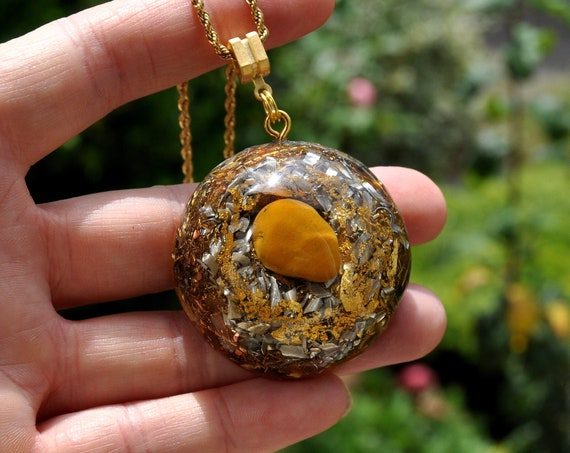 Large Yellow Jasper Orgonite® Pendant with 24K Gold, Orgone Necklace, Unisex - Willpower, Solar Plexus Chakra