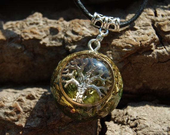Raw Green Tourmaline Orgonite® Necklace, Tree of Life, Small Pendant, Unisex