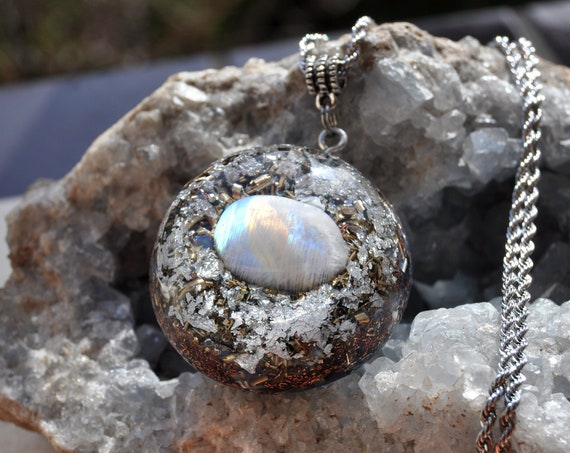 Moonstone Orgonite® Pendant with 24K Gold, Orgone Necklace