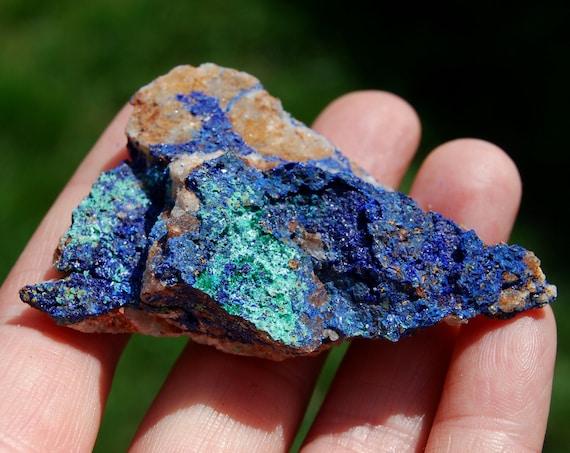 Raw Azurite from Morocco, Raw Azurite on Quartz , 39 grams