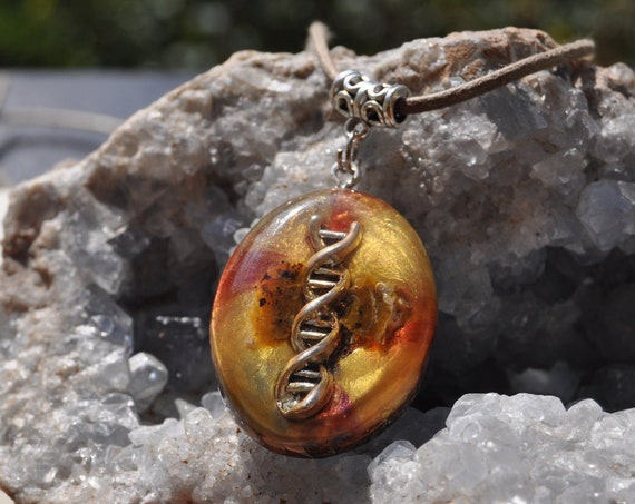 Honey Opal Orgonite® Orgone Pendant with DNA symbol