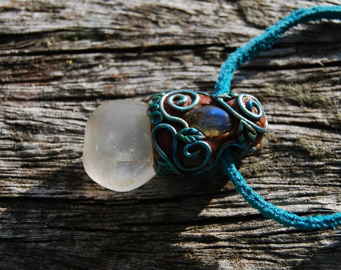 Rose Quartz with Labradorite Pendant Clay Handsculpted Necklace