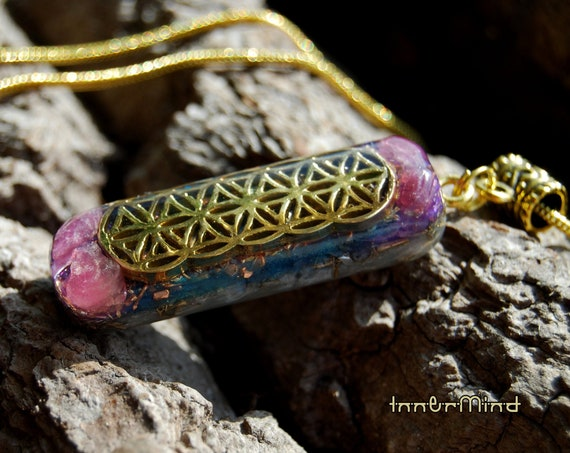 Pink Tourmaline Orgonite® Necklace, FLower of Life pattern, Oblong  -  FREE Shipping !
