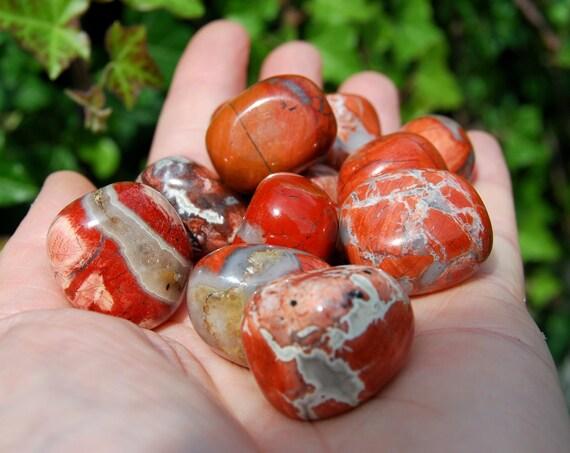Lovely Poppy Jasper Tumbled Stones - Polished Worry Stone, Pocket Stone. Vitality, Passion, Grounding, Root Chakra balance
