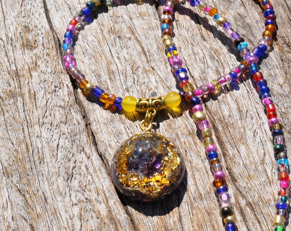 RESERVED Amethyst Orgone Orgonite® on colorful beaded Necklace, EMF Protection