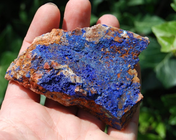 Lovely Druzy Azurite from Morocco, Raw Azurite on Quartz , 109 grams