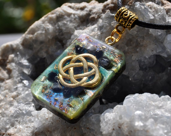 Obsidian Orgonite® Men's Pendant Necklace with Celtic Knot