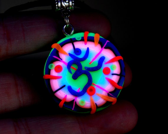 AUM Necklace, UV Active Pendant, Polymer Clay, Unisex