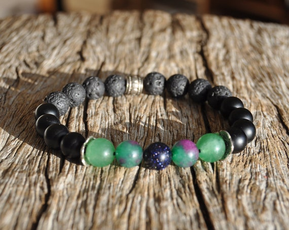 Lava Bracelet with Agate, Black Obsidian and blue Goldstone - Unisex FREE Delivery !