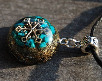 FREE Shipping ! Orgonite® Orgone Pendant with real raw Chrysocolla Unisex