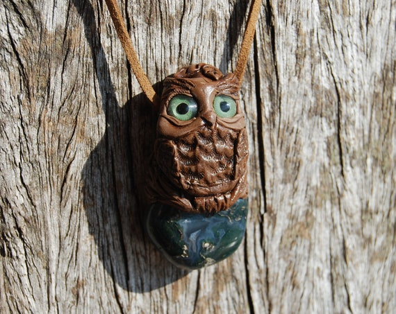 Moss Agate Owl Necklace Clay Handsculpted Unique, FREE Shipment !