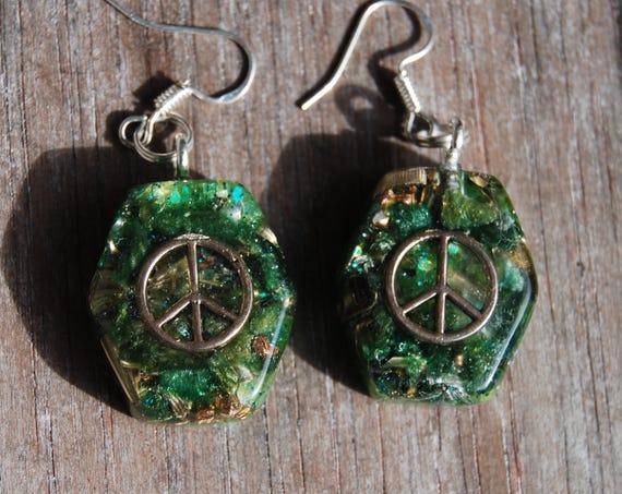 Peace Earrings  925 Sterling Silver Hooks Findings Orgonite®  Handmade Unique Elegant