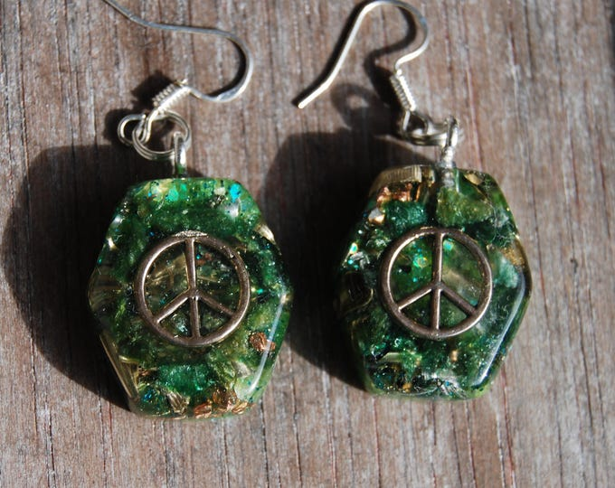 Peace Earrings  925 Sterling Silver Hooks Findings Orgonite®  Handmade Unique Elegant
