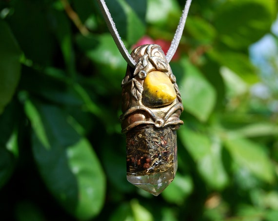 Bumble bee Jasper Orgonite® pendant Necklace, Clay Gemstone, Unisex