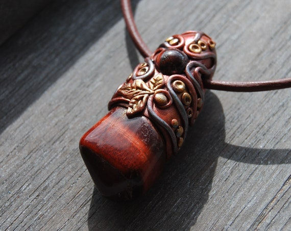 Red Tiger's Eye Clay Pendant Handsculpted Necklace