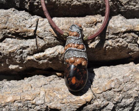 Mahogany Obsidian Pendant Necklace  - FREE Shipping !