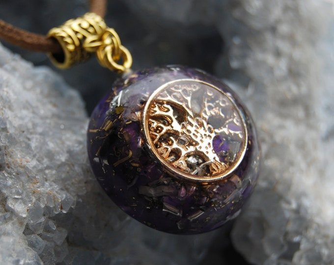 Amethyst Tree of Life Orgone Orgonite® Pendant on Faux Suede Cord