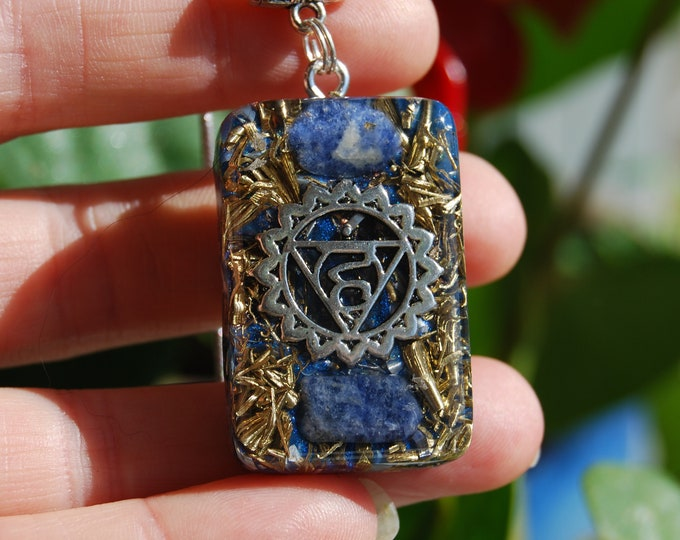 Orgonite® Orgone Pendant Throat Fifth Chakra Necklace with Sodalite