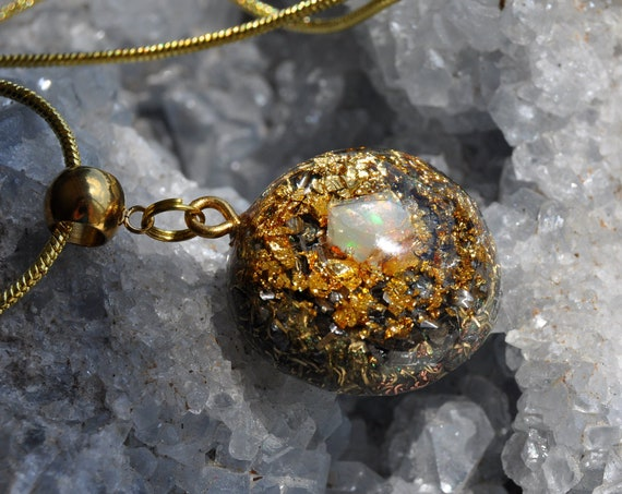 Welo Opal Orgonite® Pendant with 24k Gold,  Unisex Jewellery - FREE Shipping !