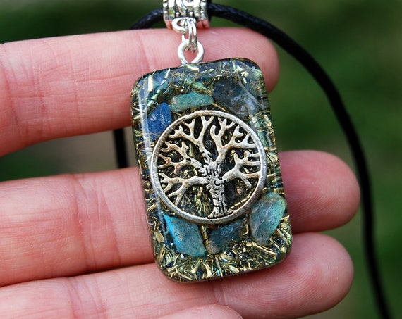 Flash Labradorite Orgonite® orgone Pendant, Tree of Life Necklace, Unisex