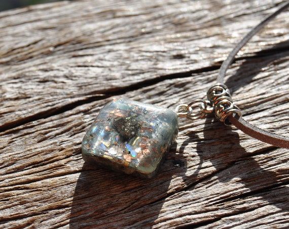 Orgone Orgonite® Pendant Necklace with Pyrite Cluster