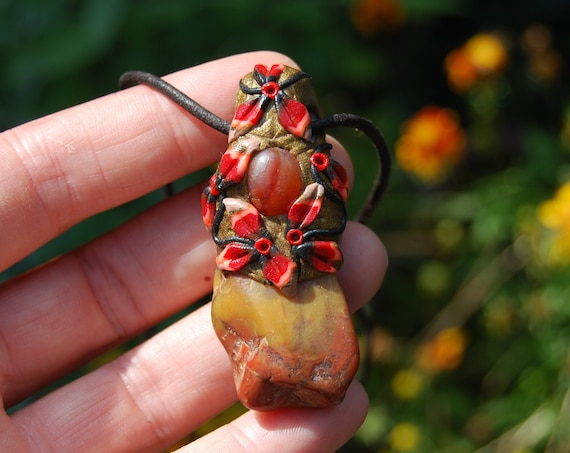 Mookaite Jasper with Carnelian Agate Necklace Unisex, Clay Handsculpted Unisex Unique