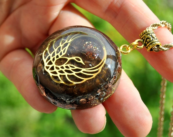 Sunstone with Phoenix Orgonite® Pendant Necklace