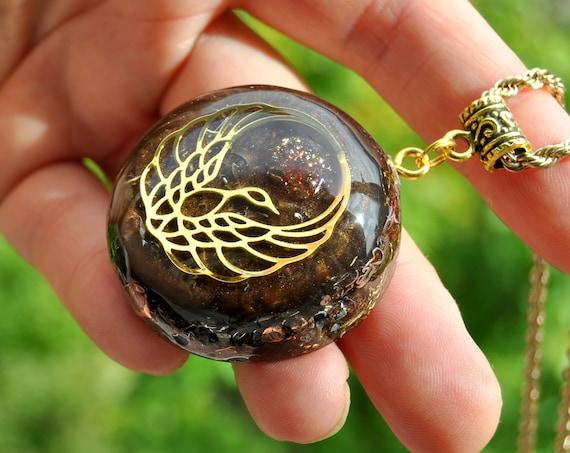Sunstone with Phoenix Orgonite® Pendant Necklace