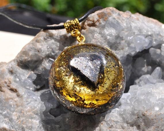 LARGE Elite Shungite with 24k Gold Orgonite® Pendant Necklace EMF Protection