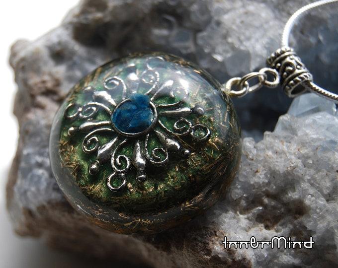 Blue Apatite Orgonite® Orgone Pendant Necklace