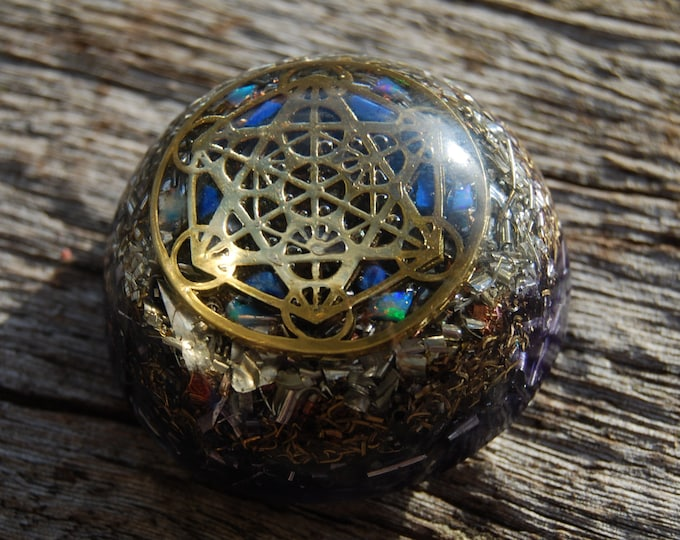Metatron's Cube Orgonite®Dome Small with white Precious Opal and Lapis Lazuli