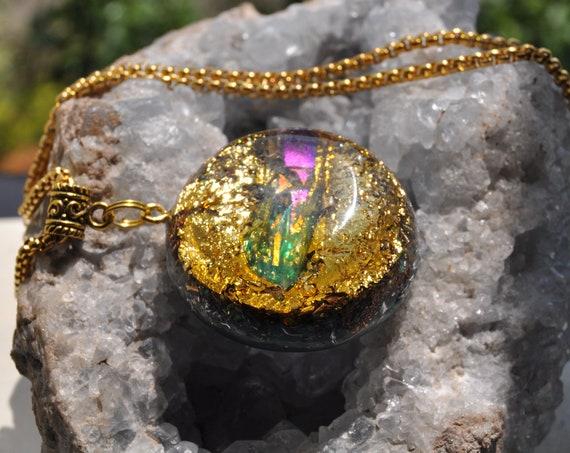 Aura Quartz Orgonite® Pendant Necklace, EMF Protection, Unisex