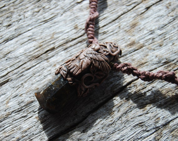 Natural Terminated Dravite Crystal with Hummingbird Pendant Necklace Clay Brown Tourmaline on Macrame Hemp Cord, Unisex